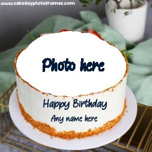 Create Online Happy Birthday Cake with Photo frame