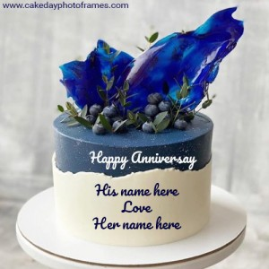 Blueberry Anniversary Chocolate Cake with Couple Name