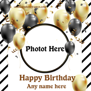 Happy Birthday Balloons decorated wishes card with Name