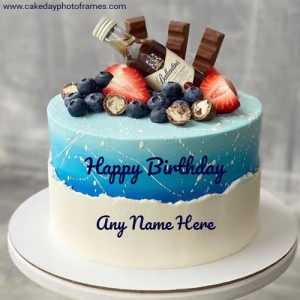 Beautiful chocolate Happy Birthday Cake with Name