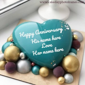 Write a name on Lovely Anniversary Cake with couple name