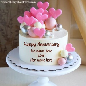 Pink Hearts Anniversary Chocolate  Cake with Couple Name