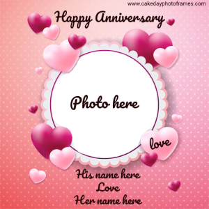 Happy Anniversary Photo frame with Couple Name