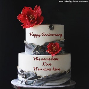 Happy Anniversary Tiered Red Flowers Cake with Name of couple