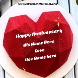 Anniversary cake wishes with Name of Couple