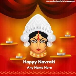 Write a Name On Happy Navratri 2020 wishes card with name