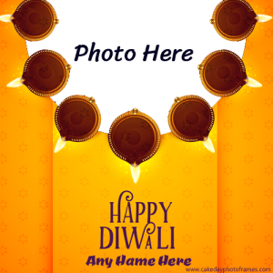 Beautiful Happy Diwali Greetings Card with Name and photo