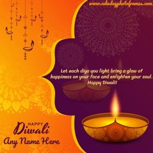 write a name on happy diwali 2020 wishes card