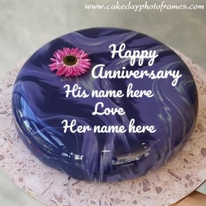 Happy Anniversary cake with Couple Name online