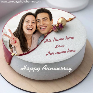 wedding anniversary cake with name and photo edit