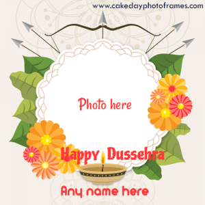 happy dussehra 2020 wishes card with name and photo edit