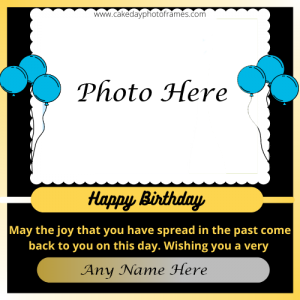 happy birthday card with name and photo edit online