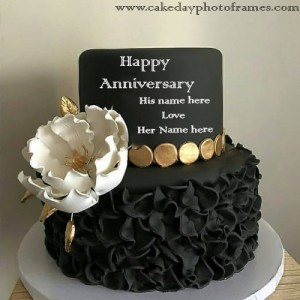 Black And white Rose Anniversary Cake with Name