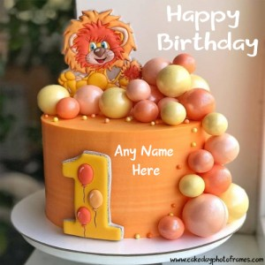 1st Happy Birthday Cake with Name Free Edit