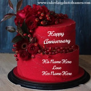 Red Cherry and Rose Anniversary Cake with Name