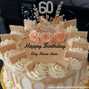 Special 60th Birthday Greetings with Name on Special Cake