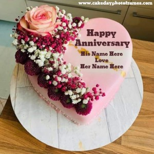 Pink Rose Anniversary Cake with Name Edit