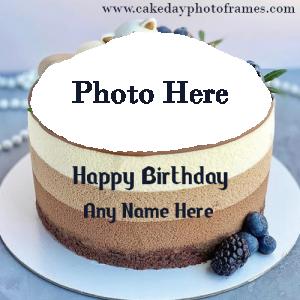 White layered Birthday Cake with Name and Photo Editor