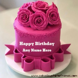 pink flower birthday cake with name and photo edit