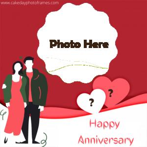Happy Anniversary Photo frame with Name Alphabet