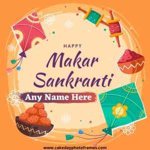 Happy Makar Sankranti 2021 Card with Name image