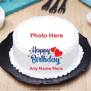 White Hearts Birthday Cake with Name and Photo