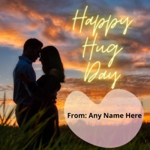 Create Happy Hug Day card with name Pic