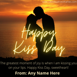 Happy kiss day wishes card with name editor online