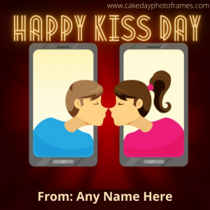 Happy kiss Day 2021 card with free name edit