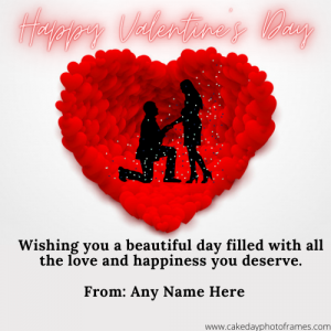 Create Happy Valentine day card with name Pic