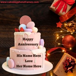 Pink Happy Anniversary Cake with Name of Couple