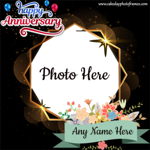 Happy Anniversary wishes card with name and photo