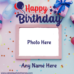 Making Birthday greeting card with Name and Photo editor