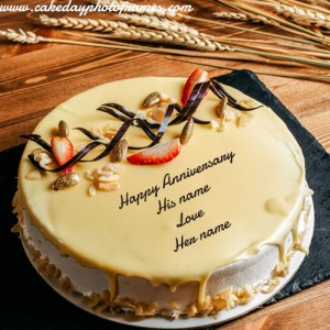Happy Anniversary Cake with His and Her Name