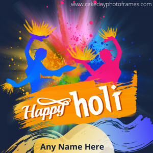 happy holi greeting card with name free download