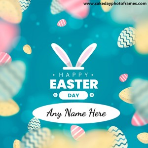 Happy Easter Day wishing card with name editor
