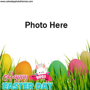 Happy Easter Day Card with Name & Photoframe