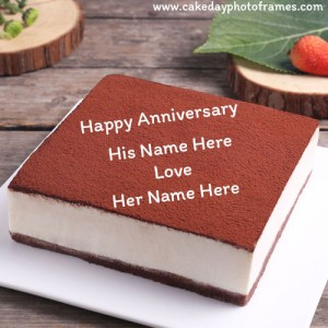 Happy Anniversary Chocolate Cake with couple Name Edit Online