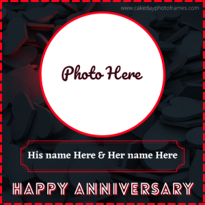happy marriage anniversary card with name and photo