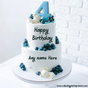4th year happy birthday cake with name edit