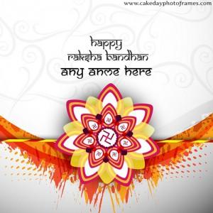 Swastik Rakhi Special Happy Raksha Bandhan Card with Name