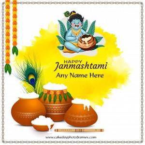 Happy janmashtami Greeting card with name editing