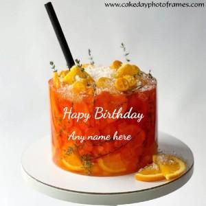 Happy Birthday Lemon Cake With Name Edit