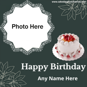 Online Edit Happy birthday Card with name and photo