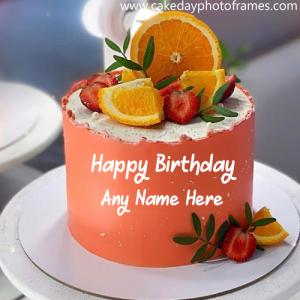 Happy birthday orange cake with name edit