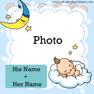 Baby shower photo frame with name and couple photo