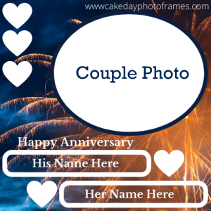 Happy anniversary card with couple name and photo