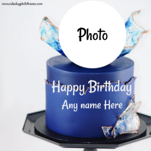 Royal blue happy birthday cake with name and photo