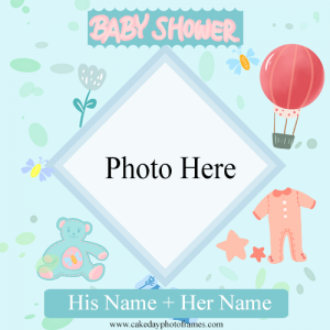 Baby shower greeting card with name and photo