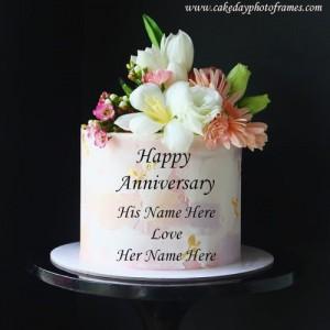 Happy Anniversary Flower Aura Couple Name Cake